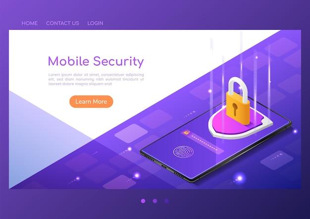 스마트폰 화면에 잠금 보호 및 지문 스캔 보안 시스템이 있는 3d 아이소메트릭 웹 배너 방패. 스마트폰 보안 시스템 및 데이터 보호 개념입니다.