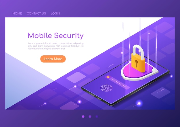 3d isometric web banner shield with lock protection and finger print scan security system on smartphone screen. smartphone security system and data protection concept.