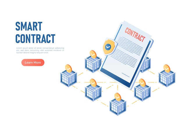 Blockchain 기술 센터의 3d 아이소메트릭 웹 배너 스마트 계약. 블록체인 스마트 계약 개념.
