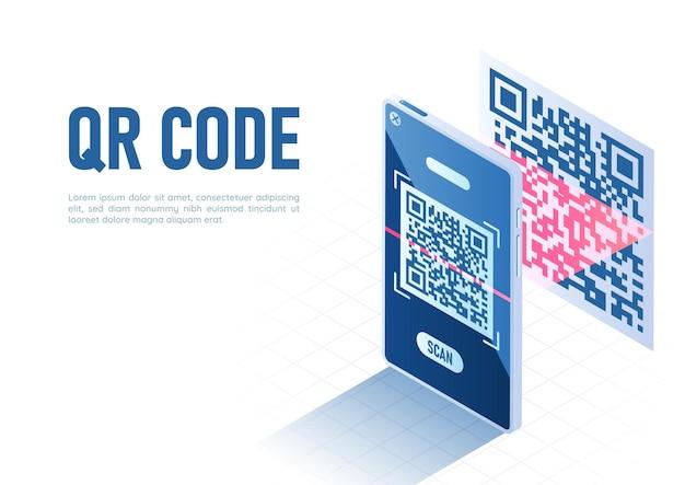 Qr 코드를 스캔하는 스캐너가 있는 3d 아이소메트릭 웹 배너 스마트폰. qr 코드 검증 기술 개념입니다.