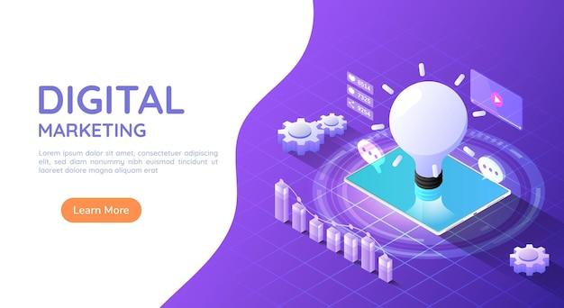 보라색 배경에 아이디어 전구 및 소셜 미디어 마케팅 아이콘이 있는 3d 아이소메트릭 웹 배너 태블릿 컴퓨터. 디지털 마케팅 개념입니다.