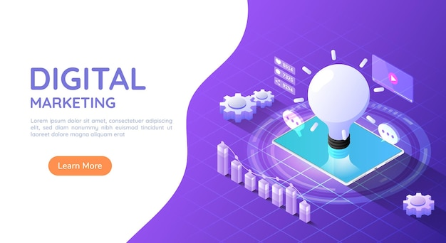 3d isometric web banner tablet computer with idea light bulb and social media marketing icon on purple background. digital marketing concept.
