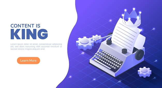 3d isometric web banner typewriter with a crown and paper sheet on blue gradient background. content is king and marketing concept.
