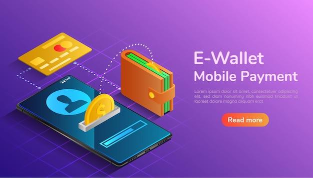3d 아이소메트릭 웹 배너 지갑과 신용 카드가 연결되어 스마트폰으로 돈을 이체합니다. 전자 지갑 및 모바일 결제 방문 페이지 개념입니다.