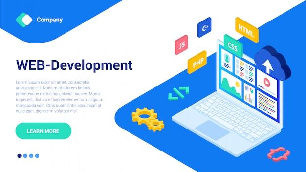 3d isometric web design template