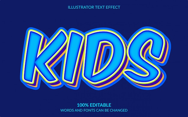 Редактируемый текстовый эффект, 3d kids text style
