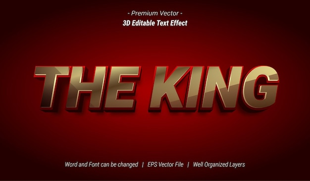 3d the king editable text effect