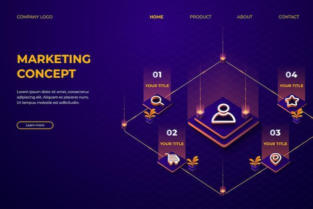 짙은 보라색과 주황색 벡터가 있는 3d 방문 페이지 마케팅 개념