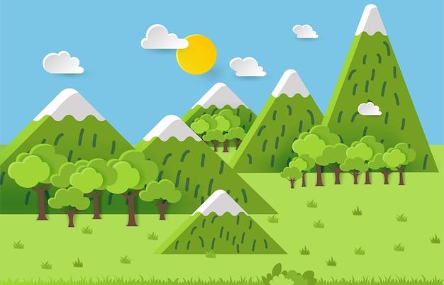 3d landspace 컨셉 디자인. 화려한 손으로 만들어진 예술. 종이 컷 스타일.