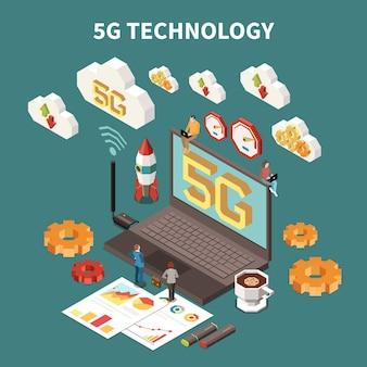 5gインターネット技術等尺性構成図と3dラップトップ