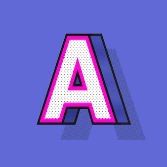 3d letter a in halftone style