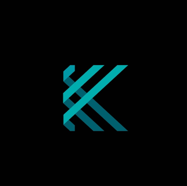 3d letter k logo vector