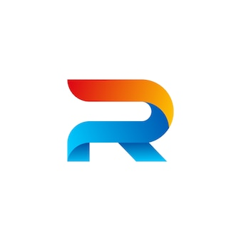 3d letter r logo design template