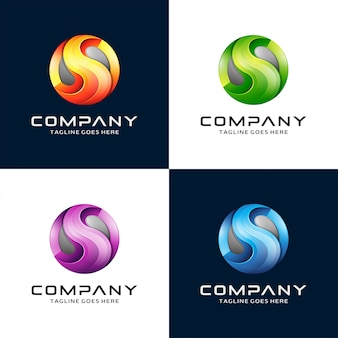 3d letter s logo design with circle logo