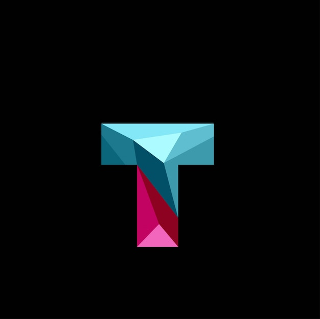 3d letter t low poly logo vector