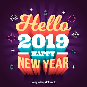 3d lettering new year 2019