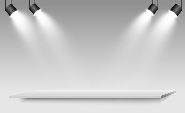 Реалистичные 3d light box с платформой фон для дизайна производительности, шоу, выставка. иллюстрация лайтбокса интерьер студии. подиум с прожекторами.