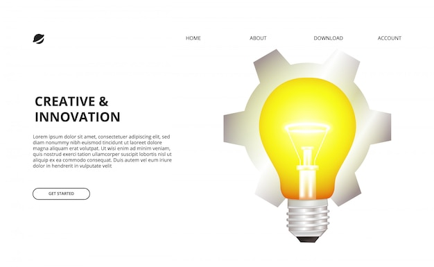 3d light bulb glow and gear illustration for business, creative