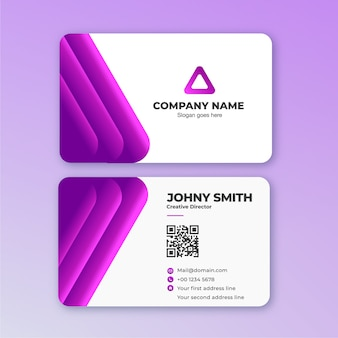 3d line business card in purple