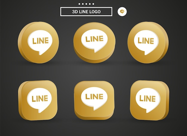 3d line logo icon in modern golden circle and square for social media icons logos