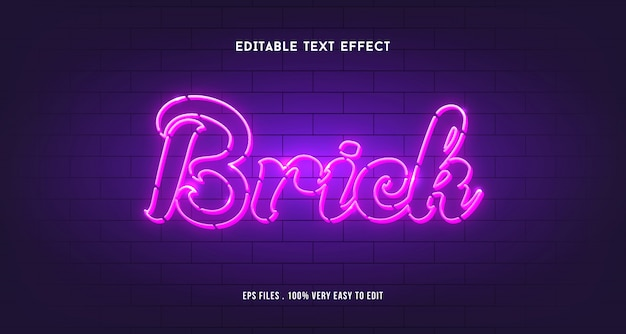3d lines text effect with brick