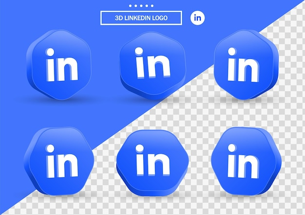 3d linkedin icon logo in modern style frame and polygon for social media icons logos