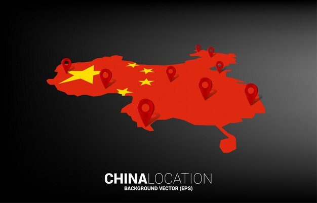 3d location pin marker on china map. concept for china gps navigation system infographic .