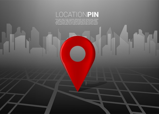 3d location pin marker on city road map with building silhouettes. concept for gps navigation system infographic