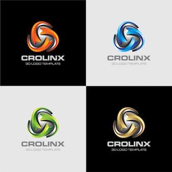 3d logo template sphere letter c
