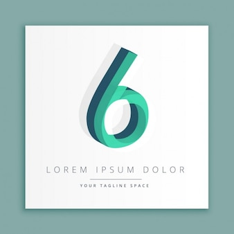 3d logo with number 6