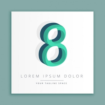 3d logo with number 8