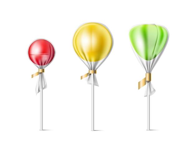 3dロリポップ。透明なラッパーキャンディーとプラスチックパッケージ、砂糖製品、甘い、ボンボンテンプレートの現実的なさまざまな形のロリポップ