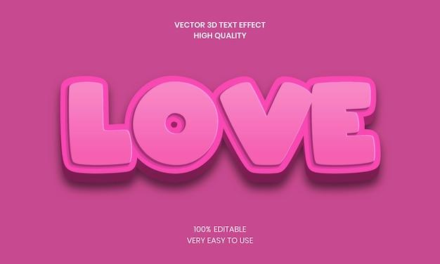 Редактируемый текстовый эффект 3d love premium векторы
