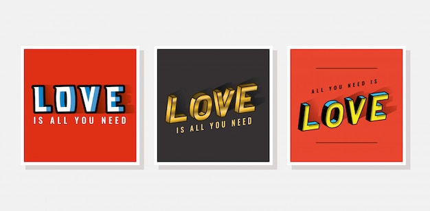 3d love lettering set on gray and red backgrounds