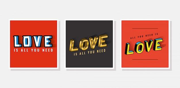 회색과 빨간색 배경에 3d 사랑 글자 설정