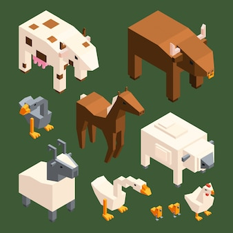 3d low poly animals.  isometric farm animals isolate