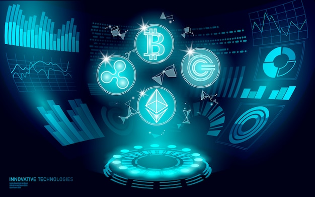 3d low poly digital cryptocurrency hud display. future web online payment. big data information exchange technology. blue abstract web internet electronic payment ui illustration