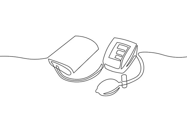 혈압 측정을 위한 3d 저폴리 전자 의료 안압계. 의료 건강 검진 분석. 한 줄 단색 연속 단일 라인 아트 벡터 일러스트 레이 션.