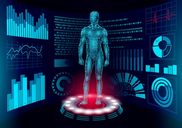 3d low poly human body hud display doctor online. future technology medicine laboratory web examination. blood system disease diagnostics futuristic ui illustration