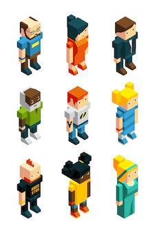 3d low poly people set in isometric