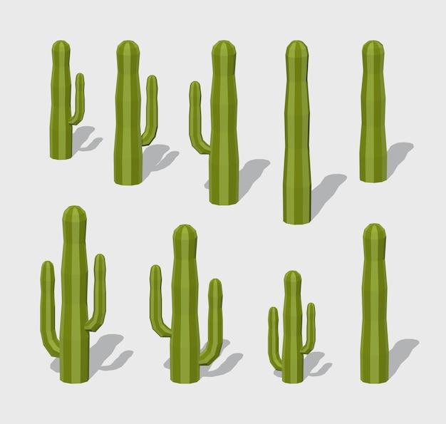3d низкополигональные кактусы