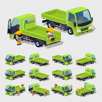3d lowpoly empty green cargo truck