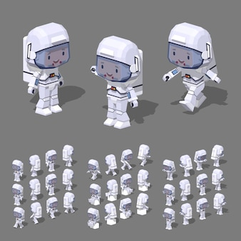 3d lowpoly isometric astronaut