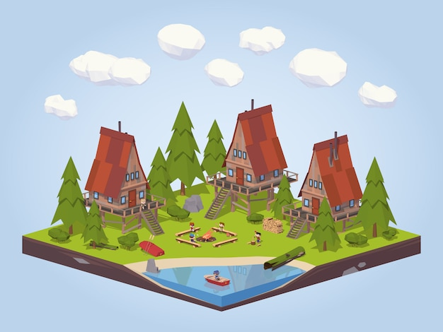 3d lowpoly isometric cabins in the woods near the lake