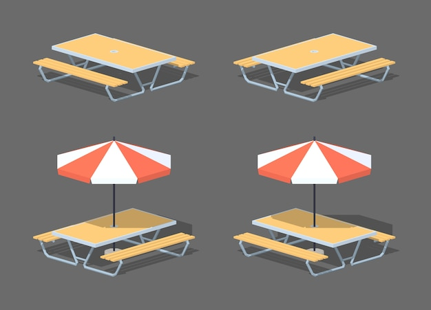 3d lowpoly isometric cafe table with sun umbrella