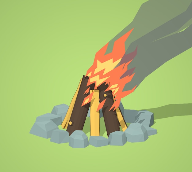 3d lowpoly isometric campfire