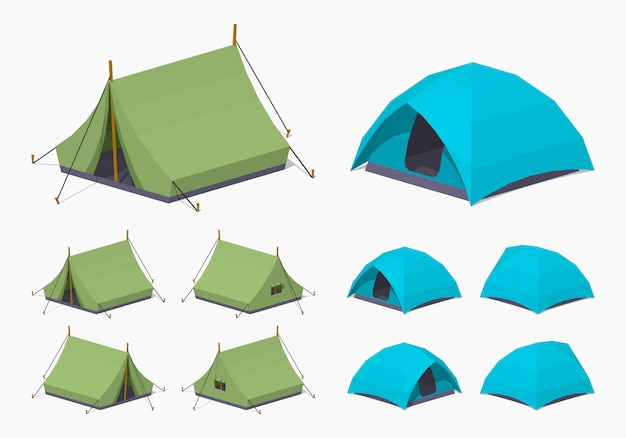 3d lowpoly isometric camping tents