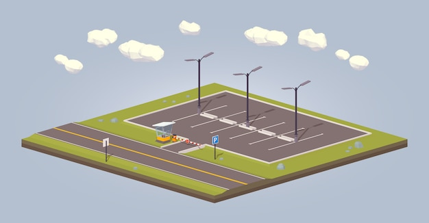 3d lowpoly isometric empty parking lot