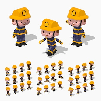 3d lowpoly isometric firefighter