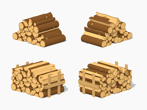 3d lowpoly isometric firewood stacked in piles